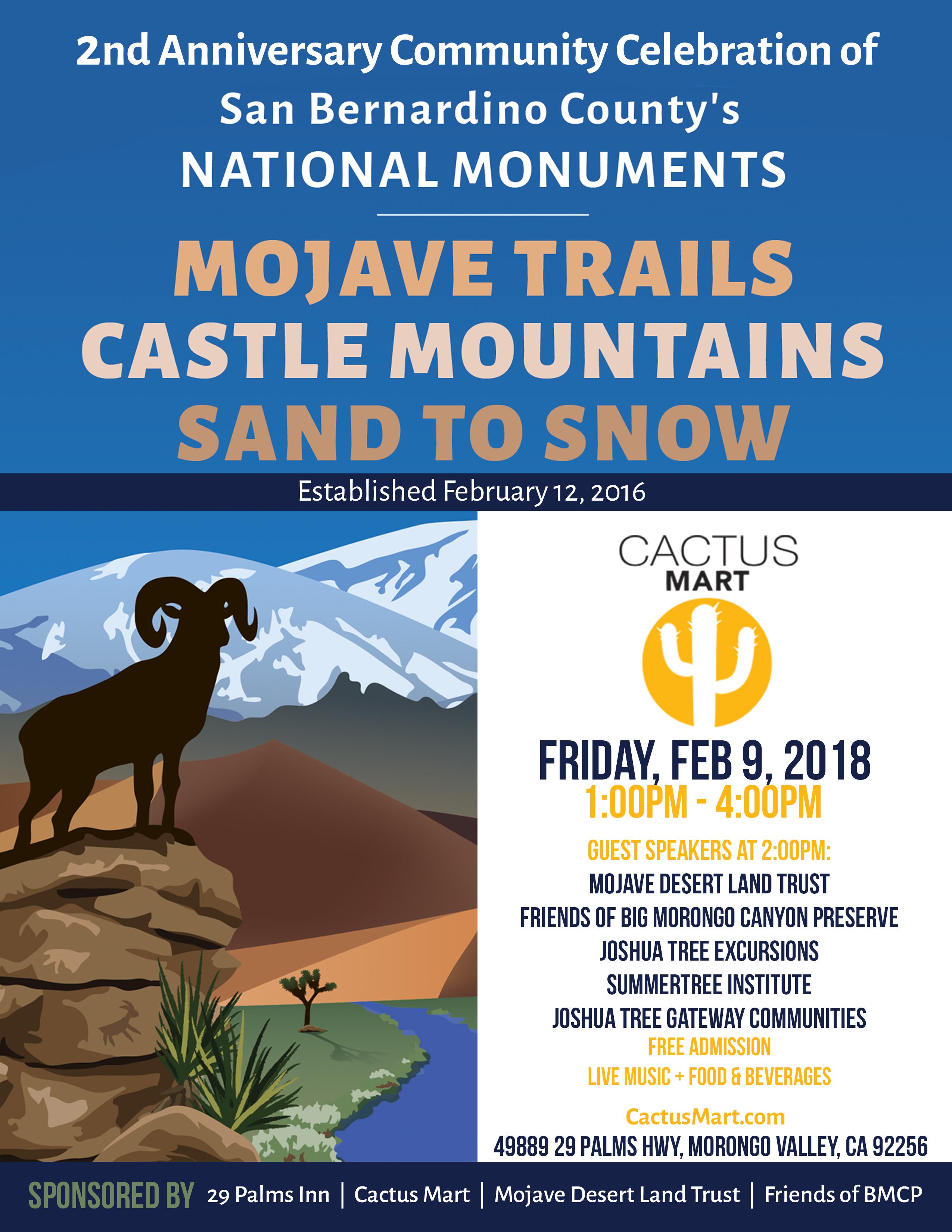 CA Desert National Monuments 2nd Anniversary Event