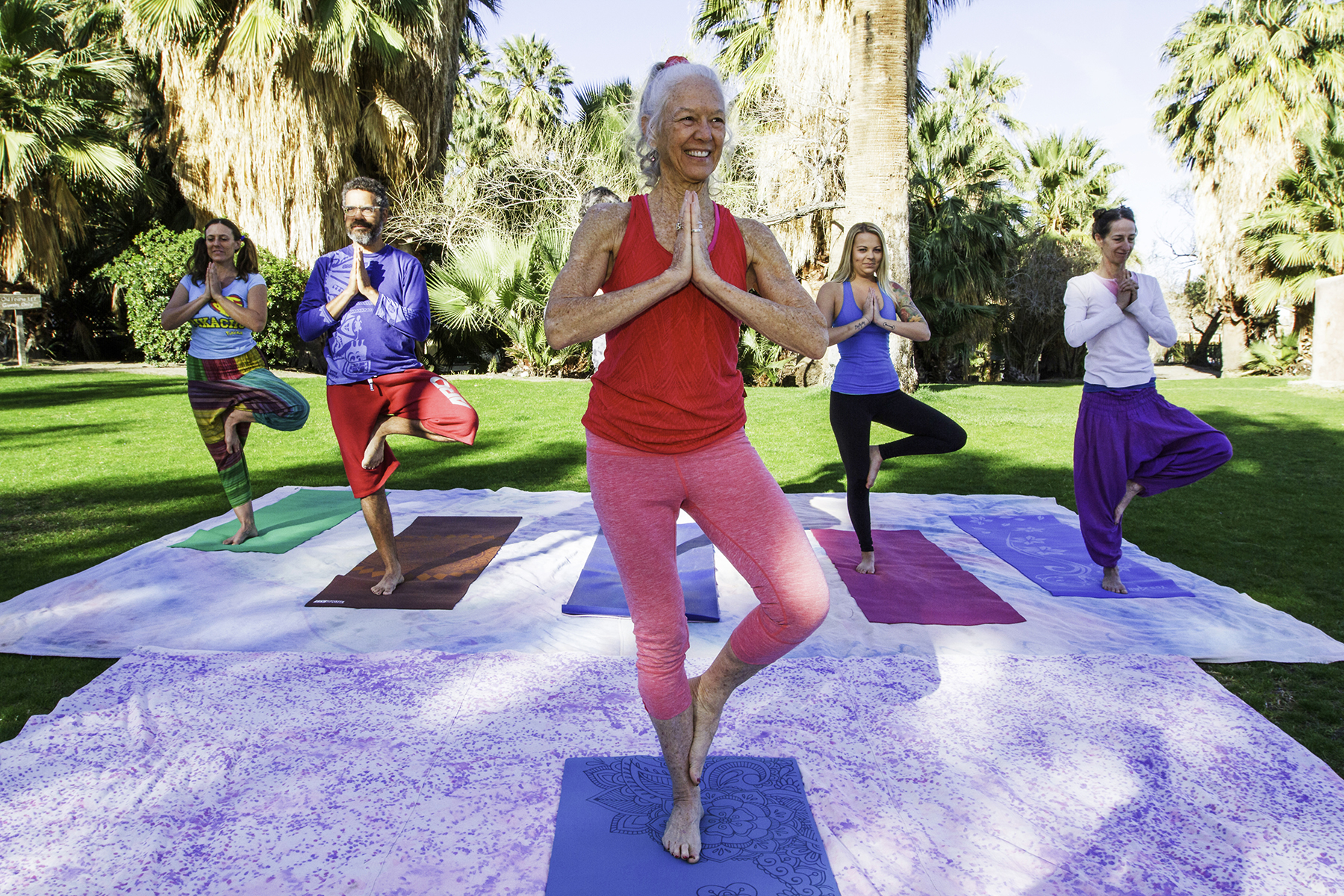 Outdoor yoga at the 29 Palms Inn with Karen Tracy