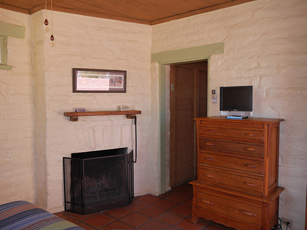Interior view of Dandelion with fireplace