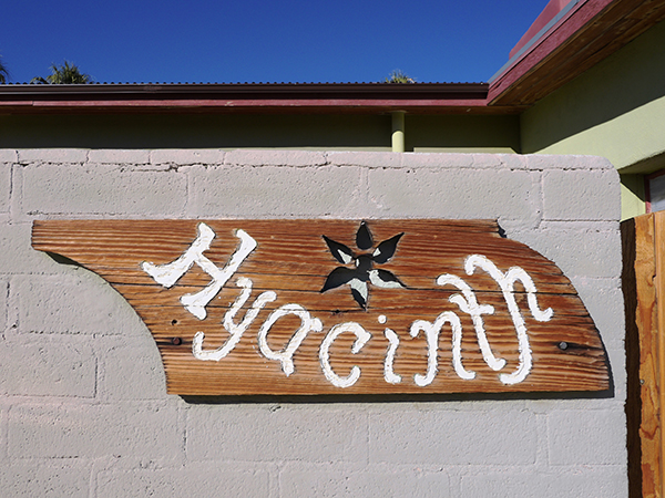 Hand carved Hyacinth adobe sign
