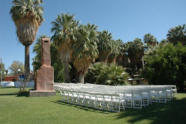 Lawn setting for wedding ceremony 29 Palms Inn
