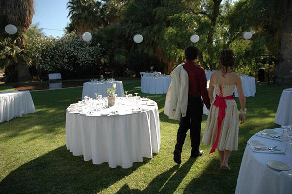 Outdoor Wedding Reception on the lawn 29 Palms Inn