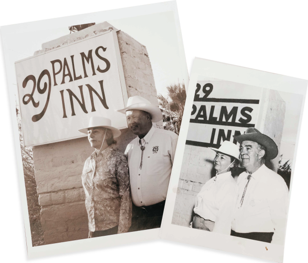 Two polaroid images, Bob and Mary Claire posing infront of the 29 Palms Inn sign in the older photograph, and Jane and her husband are mimicking the photo in front of the current sign.