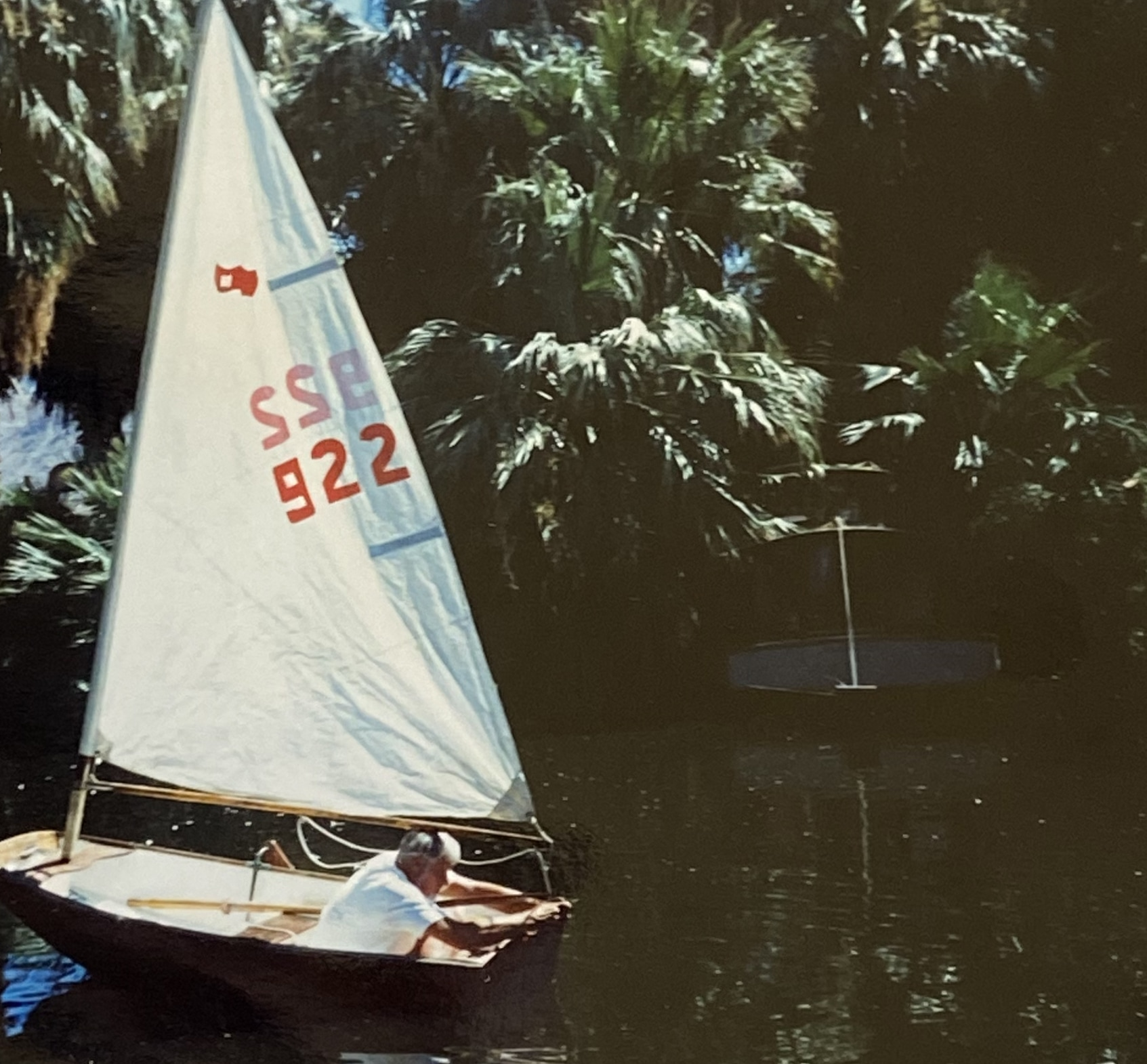 Ron Grunt in his sailboat on the Oasis of Mara